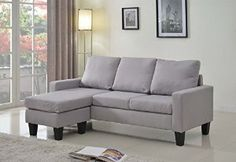 Amazon.com: Home Life Linen Cloth Modern Contemporary Upholstered Quality Sectional Left or Right Adjustable Sectional Sofa, Large, Light Grey: Kitchen & Dining
