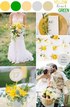 Green and gold weddi