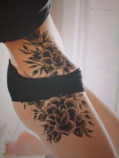 Hip flower tattoo