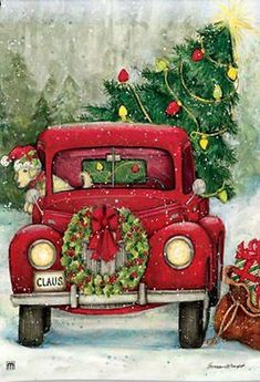 Country Christmas pickup truck themed garden flag with an antique red truck hauling a freshly cut Christmas tree home to decorate for the Holidays. Christmas Garden Flag, Christmas Red Truck, Merry Christmas, Christmas Scenes, Vintage Christmas Cards, Country Christmas, All Things Christmas, Christmas Holidays, Christmas Crafts