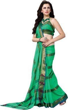 Green causal Wear Saree Zari Work Printed Pallu Designer Cotton Sari #SareeStudio #SareeSari #CausalWear
