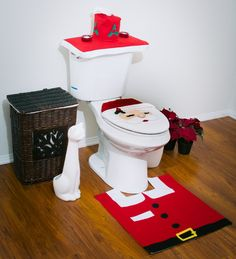 Santa Toilet Seat Cover and Rug Set Christmas Theme Bathroom Decor - anoninterior