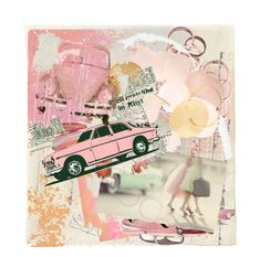 """""""Old Pink Cars"""" by halebugg ❤ liked on Polyvore featuring art, pink cars, collector's car, tutu, collage, round earrings, chevy, abstract, cadillac and automobiles"""