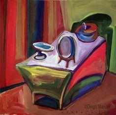 """""""Mesa de comedor 2 """", acrylic on canvas, 43 x 44 cm. , 2000."""