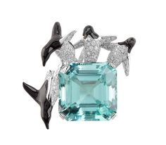 Diamond and enamel penguins diving off of aquamarine 'ice'. Ice Barrier Necklace – Van Cleef & Arpels
