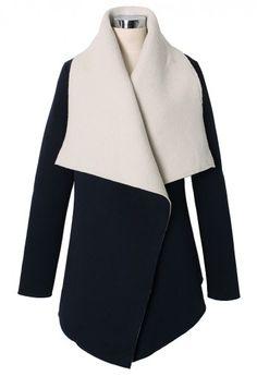 Faux Fur Drape Cape Jacket in Navy