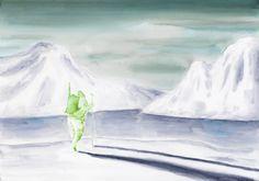 Pierluigi Pusole - Paesaggio con uomo - 2011 - Acrilico e acquerello su carta - 70 x 100 cm