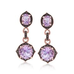 4.40 ct. t.w. Rose De France Amethyst and .28 ct. t.w. Black Diamond Earrings in 14kt Rose Gold Over Sterling