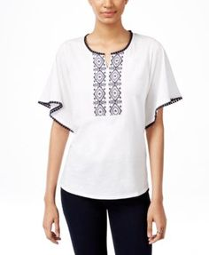 Style & Co. Embroidered Peasant Top, Only at Macy's | macys.com