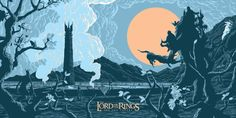 Limited edition The Two Towers (LOTR) screenprint by Florey. An official Lord Of The Ring art print, signed and numbered by the artist.