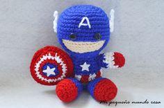 Mi pequeño mundo rosa ♥: Capitán América a Crochet: Patrón en Español e Inglés / Spanish and English Pattern