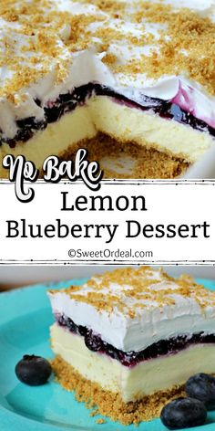 Mini Desserts, Blueberry Desserts, Cold Desserts, Lemon Desserts, Lemon Recipes, Summer Desserts, Fruit Recipes, No Bake Desserts, Easy Desserts