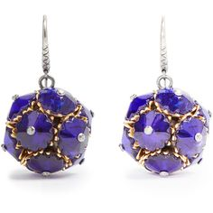 Bottega Veneta Crystal ball earrings ($1,150) ❤ liked on Polyvore featuring jewelry, earrings, royal blue earrings, earrings jewellery, bottega veneta earrings, engraved jewelry and royal blue jewelry