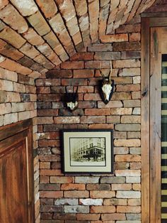 A wine cellar is created with New England Mill Blend Reclaimed Thin Brick Veneer--the effect is cool and edgy. *** For more information, visit image link. #homeimprovement
