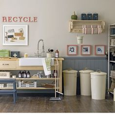 Functional utility room - Tongue-and-groove panels add interest to a simple utility room. A cream, taupe and green colour palette creates a pared down and practical scheme - the 1950s feel making household chores much more appealing. LOVE THIS LOOK!!! Wish I could do this in my extra room