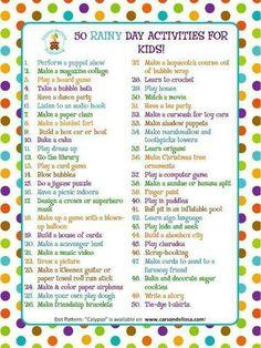 Rainy day kids activity list