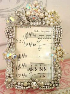 Wouldn't this embellished frame make a wonderful wedding or anniversary gift?!! By: *Vintage Dragonfly Mosaics on fb:)