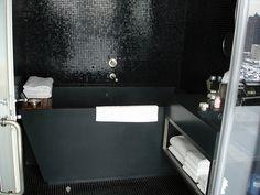 Black Mosaic Tile Bathroom Walls With Black Freestanding Tub Black Tile Bathrooms, Modern Bathroom, Mosaic Tiles, Tiling, Mosaics, Eye Candy, Swimming Pool Tiles, Black Tiles, Front Entrances