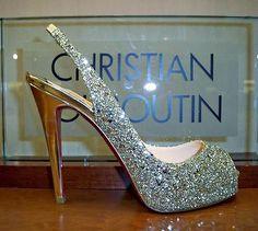 silver glitter christian louboutin's wedding shoes