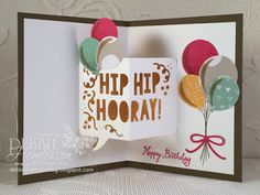 Stampin' Up! Party Pop-Up Thinlits Dies and Wink Of Stella. Two cards on my blog today. Debbie Henderson, Debbie's Designs.