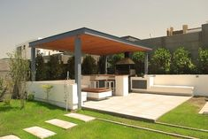 Pergola For Small Backyard Info: 6188793171 Patio Pergola, Patio Roof, Backyard Patio, Pergola Ideas, Pergola Kits, Outdoor Areas, Outdoor Rooms, Outdoor Living, Outdoor Kitchen Design