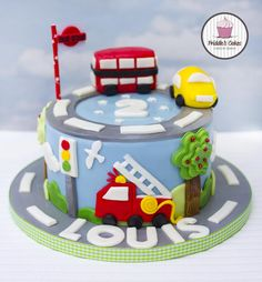 Fire engine, car and bus birthday cake bus cake, truck cakes, twin birthday Baby Boy Birthday Cake, First Birthday Cakes, 2nd Birthday, Bus Cake, Truck Cakes, Bolo Normal, Fire Engine Cake, Transportation Birthday, Fantasy Cake