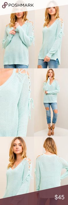 SALE Mint Tie Shoulder Sweater Knit 💕DETAILS:  * Cross-Cross Tie Shoulders * High-Low Style * Light Weight, Soft/Comfortable Material * 70% Acrylic 30% Nylon   Model is wearing size Small.   Small: 50in B, 28in L, 19in Arm Inseam Medium: 52in B, 28in L, 19in Arm Inseam  Large: 54in B, 29in L, 21in Arm Inseam   SKU:  ••••••••••••••••••••••••••••••••  🙋Hello! I'm Monika. I'm a Boutique Owner & Boutique Coach. Welcome to my closet!   Let's keep in touch 💕 💟Instagram: @monikarosesf…