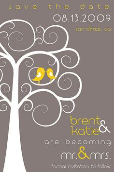 A touch of yellow wedding invitation with a gray background.  I found this on #weddingbee 3304071703_49c8cf757c