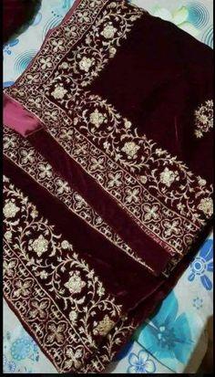 Velvet Shawl – Libas-e-Khaas Embroidery Suits Punjabi, Zardozi Embroidery, Bridal Dupatta, Silk Dupatta, Saree Gown, Lehenga, Sari, Velvet Dress Designs, Saree Floral