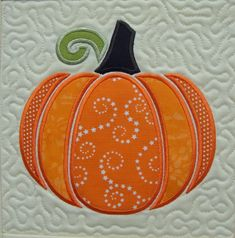 ITH Perfect Pumpkin Applique Quilt Block Embroidery Design from Pat Williams Halloween Quilts, Halloween Sewing, Fall Sewing, Machine Embroidery Quilts, Applique Quilts, Machine Quilting, Machine Embroidery Designs, Quilting Projects, Quilting Designs