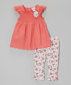 Another great find on #zulily! Pink Floral Smocked Tunic & Leggings - Infant, Toddler & Girls #zulilyfinds