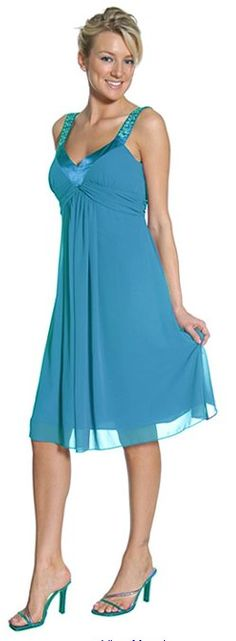 Chiffon Turquoise Dress Bridesmaid Knee Length Rhinestones Straps Gown $76.99...