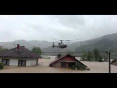 Bosnia floods: Dramatic footage of helicopter rescue