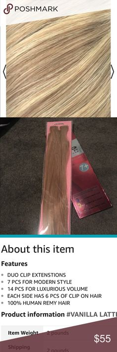 """Vanilla Latte 16"""" human hair clip in extensions. These feel silky and amazing. Good quality. Never taken out of package. Blonde 16"""" Clip in extensions. 100% remy human hair. One pack is enough for volume. You may need 2 packs if trying to add a lot of extra length. Shade is called Vanilla Latte ( it's sort of a honey beige blonde) Duo Clip Extensions Blonde Other"""