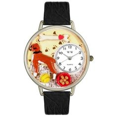 Boxers are the sixth most popular dog in the US.?Through the Boxer themed Whimsical Watch, celebrate this?stocky, medium-sized, short-haired dog. The unique Boxer Watch features mi