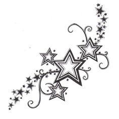 Reihe von Sternen Tattoo