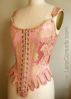 18th century pink damask stays (corset) by LaraCorsets