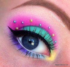 Aqua and pink eyeshadow