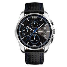 Sale 11% (16.99$) - SKMEI 9106 Fashion PU Leather Band Waterproof Analog Men Wrist Watch