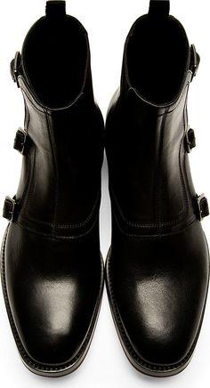 Alexander McQueen - Black Monk Strap Boots   SSENSE