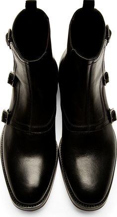 Alexander McQueen - Black Monk Strap Boots | SSENSE