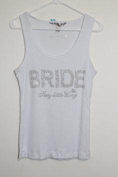 $24.95 OBO Victorias Secret Sexy Little Bride Large Rhinsestone Bling BRIDE Ribbed Tank Top #VictoriasSecret #TankCami #Bridal
