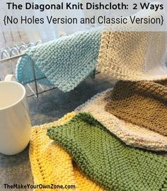 2 Ways To Knit Diagonal Dishcloths (Holes or No-Holes) Garter Stitch Diagonal Knit Dishcloth Pattern with a couple of new updates! Includes a No Holes version and updated corn. Knitted Dishcloth Patterns Free, Knitted Washcloths, Crochet Dishcloths, Easy Knitting Patterns, Knitting Projects, Crochet Patterns, Stitch Patterns, Sewing Projects, Felt Projects