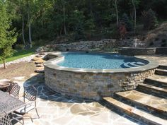 Above Ground Pool Landscaping, Sloped Backyard, Backyard Pool Landscaping, Backyard Pool Designs, Small Backyard Pools, Small Pools, Swimming Pools Backyard, Swimming Pool Designs, Pool Decks