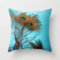 """Peacock feather pillow 18x18 or 22x22 cotton pillow """"3 Peacock feathers"""" turquoise pillow,nature,photo pillow,colorful,home decor,cushion"""