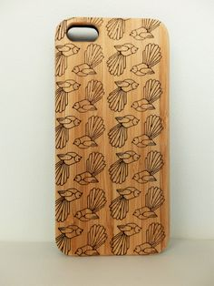 WOODEN PHONE CASE New Zealand fantail bird design laser etched bamboo (wooden iPhone 5 case & wooden  iPhone 5s case) by ellamademe on Etsy