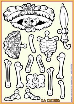 I love writing in Spanish: La Catrina skeleton. Fete Halloween, Halloween Door Decorations, Holidays Halloween, Halloween Crafts, Mexican Halloween, Fall Crafts, Holiday Crafts, Paper Dolls, Art Dolls