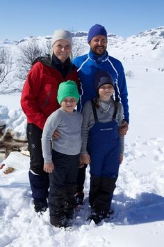 (L-R) Princess Mette-Marit of Norway, Prince Sverre Magnus of Norway, Prince Haakon of Norway and Princess Ingrid Alexandra of Norway attend a photo call after the 50th Ridderrenn on April 13, 2013 in Beitostoelen, Norway.