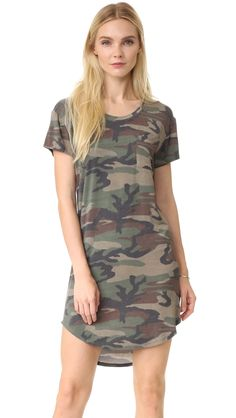 Haute Hippie Women's T-Shirt Dress, Camo, Small. Soft jersey. 95% modal/5% spandex. Dry clean. Width 33.75in / 86cm, from shoulder.