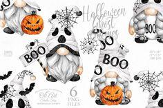 Halloween Design, Cute Halloween, Halloween Themes, Vintage Halloween, Planner Stickers, Overlays, Planners, Scandinavian Gnomes, Halloween Clipart